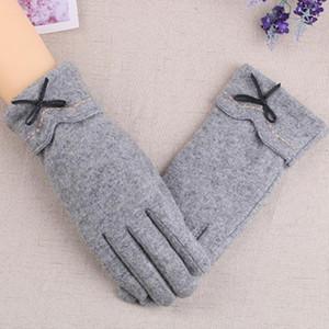Корея кашемир Plus Velvet сгущает задействуя Теплых Варежки Женского Лук Вышивка Wool сенсорного экран Вождение перчатка H19