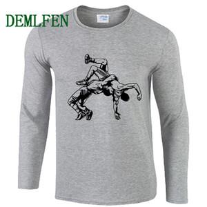 Primavera otoño estampado hombres camiseta nueva lucha de lucha muay thai camiseta casual o-cuello de manga larga camiseta de algodón camiseta de moda tops