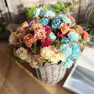 ISHOWTIENDA Artificial Fake Flowers Carnations Multicolor Floral Wedding Bouquet Bridal Hydrangea Decor Artificial Flowers