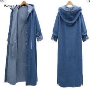 Weyes Kelf Single Breasted Hooded Long Sleeves Denim Windjacke Frauen 2020 Herbst Solide A-Line Lange Trenchcoats Frauen