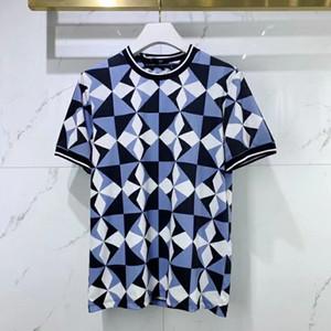 2021 Été Nouvelle fasion Hommes Bleu et Blanc Impression T-shirts ~ T-shirts de taille chinoise ~ Mens de bonne qualité Designer Sleeve Shirts