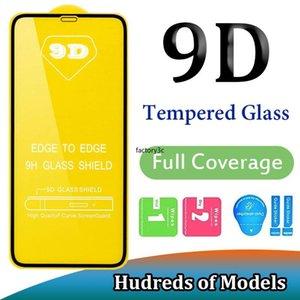 Protectores de pantalla de cristal emperados 9D Edge a borde Cobertura de cubierta completa Vidrio templado para iPhone 12 Mini 11 Pro MAX XS XR X 6 7 8 PLUS