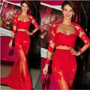 Fake Two Piece Red Mermaid Prom Dresses Appliques Lace Illusion Long Sleeve See Through Special Occaion Dress Sweetheart Formal Evening Gown