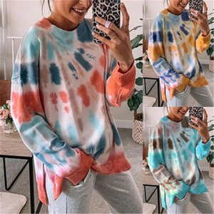 Long Sleeve Crew Neck Designer Hoodies Autumn Winter Female Casual Loose Tops Tie Dye Women Designer Sweatshirts Fashion