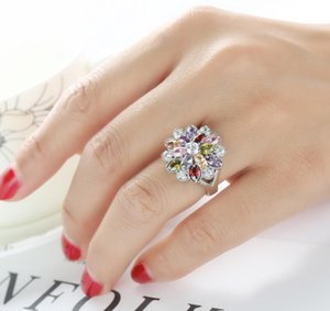The new hot selling Europe and the United States popular multi-color mixed color zircon jewelry ring factory direct