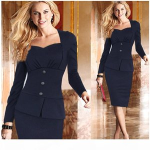 New Fall Winter Fashion Long Sleeves Womens OL Office Work Dresses Stretch Bodycon Work Cocktail Lady Slim Pencil Party Mini Dr ZJ1183