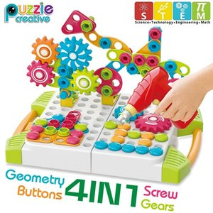 Gear Building Blocks Mushroom Nails Pegboard Toys Kids STEM Learning Toy with Drill Mosaic Art Kit 3D Construction Toy Boys Gift
