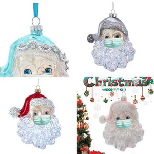 Christmas Decorations Tree Pendant Rhinestone Beads Santa Claus Mask Stars Sequins Alloy Gifts Pendants New Arrival FWA2494