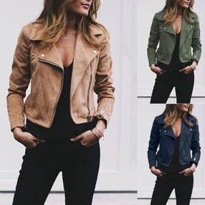 THEFOUND Fashion Women's Solid Ladies Suede Leather Jacket Flight Coat Zip Up Biker Casual Tops Clothes