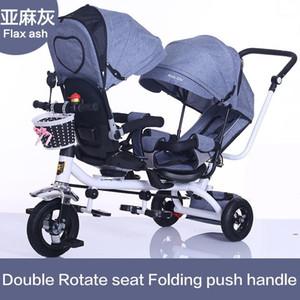 İkiz Bebek Arabası Çift Koltuk Çocuk Üç Tekerlekli Bisiklet Çocuk Bisiklet Dönebilen Koltuk Üç Tekerlekli Işık Arabası Protable Pushchair1