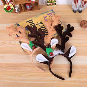 New Christmas Headband Hat Fancy Dress Hat Reindeer Antlers Santa Xmas Kids Baby Girls Adult Novelty Hairwear For New Year Gift DDB3481