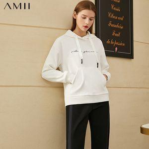 Amii Minimalism Winter Fashion Hoodies For Women Causal Embroidery Hooded Fleece Sweatshirt Women Pullover Tops 12030258 LJ201120