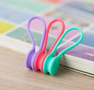 USB Cable Holder Strap Management Silicone Earphone Cord Magnetic Organizer Gather Clips Bookmark keychain House Supplies OWC3588