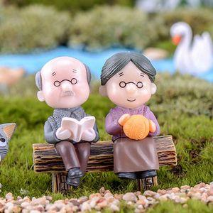 Grandparent Figurines Fairy Garden Miniatures Micro Landscape 1 Set DIY Handicraft Home Ornaments PVC Wedding Party Decor