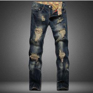 Leosoxs Hole Jeans Men Straight Slim Retro Romed Lavado Blanqueado Encuadre largo Denim Pantalones casuales masculino