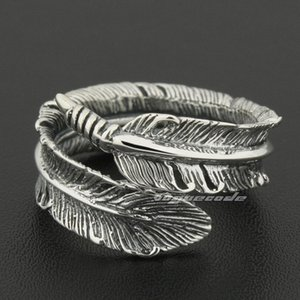 Size Adjustable 925 Sterling Silver Feather Mens Rocker Ring 8S012A US 7.5~10.5 Free Shipping