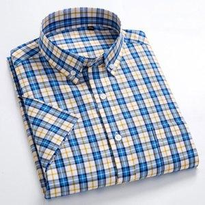 Macrosea лето с коротким рукавом плед мода мужчины бизнес формальный повседневный 100% хлопок тонкий подходит рубашки плюс размер S-8XL