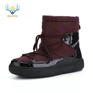Zapatos de mujer botas de nieve de invierno 50% de lana mezcla piel cálida luz cómoda buffie marca antideslizante suela de deslizamiento de color sólido envío gratis 201217