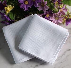 24pcs / серия 100% хлопок сатин Платок белого цвета Таблица Handkerchief Super Soft Карман Буксиры Квадраты 34см