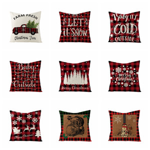 18 Inch Christmas Pillowcase Plaid Printed Linen Decor Throw Cushion Cover Home Sofa Decorative Pillow Case ZZC3448