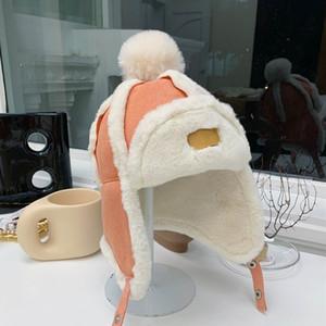 양모 원피스 모자, 따뜻하고 귀 보호 아기 겨울 봉제 트랩 퍼트 모자, 모피 방풍 모자, 소녀 소년의 모자 캡 J12087