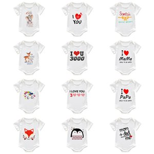 Summer Toddler Newborn Baby Rompers Little Boy Girls Romper Jumpsuits Letters Cartoon White Pajamas Infant Cotton One Piece Clothing G12703