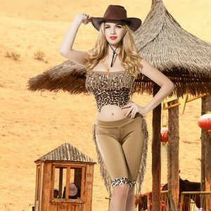 Nouveau Cowgirl Cosplay Set Sexy Femmes Cowboy Rôle Play Movie TV Costume Costume Tassel Hot Dames Party Porter 9750