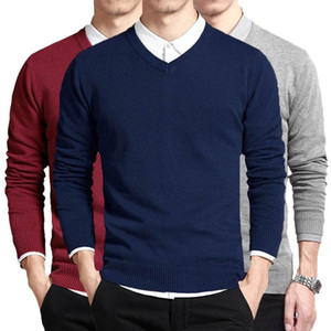 Cotton Sweater Men Long Sleeve Pullovers Outwear Man V Neck Male Sweaters Fashion Brand Loose Fit Knitting Clothing Korean Style