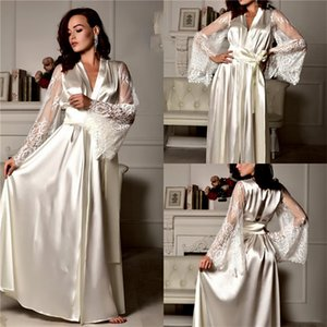 Wedding Night Gown Ruched Silk Lace Long Sleeves Bride Sleepwear Robes With Sash Custom Made Dressing Pajamas Fast Shipping