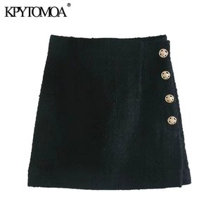 KPYTOMOA Women 2020 Chic Fashion With Buttons Patchwork Tweed Mini Skirt Vintage High Waist Back Zipper Female Skirts Mujer A1121