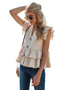 Kadın Yaz Ruffles V Yaka Kolsuz Gömlek Casual Kısa Kollu Tek Göğüslü Seksi Boho Bluz Tee Artı Boyutu CS8026 Tops