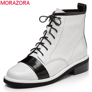 MORAZORA 2020 top quality ankle boots women mixed colors lace up autumn short boots fashion low heels punk shoes female