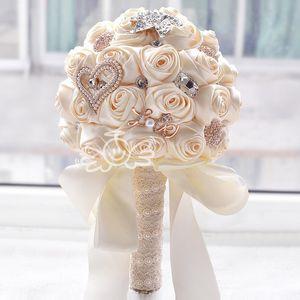 new white wedding bride holding flowers artificial bouquet ribbon rhinestone pearl bouquet decoration bride groom dance