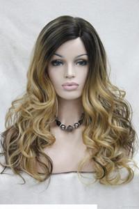 Hivision hot qualità buona monofilamento parte parte ombre marrone scuro dorato biondo mix calore ok parrucca lunga riccia