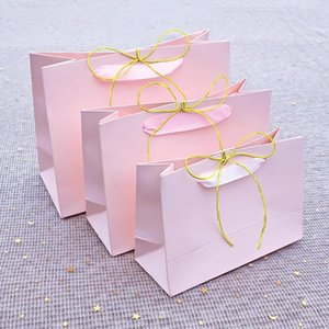 Pink high quality simple paper gift bag cowhide paper bag candy box Wedding Christmas birthday party gift packaging reusable