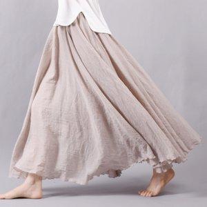 Sherhure 2020 Kadın Keten Pamuk Uzun Etekler Elastik Bel Pileli Maxi Etekler Plaj Boho Vintage Yaz Etekler Faldas Saia J0118