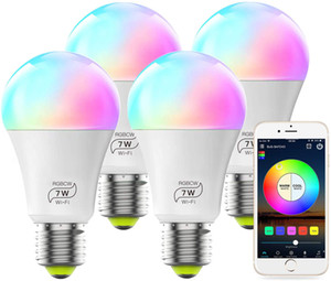 Smart WiFi Bulb Dimmable Multicolor E26 A19 7W (60w Equivalent) RGBCW LED Smart Light, Compatible with Alexa Google Home and Siri