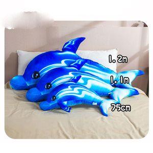 Cute Dolphin Plush Toys Kids Toys Soft Stuffed Animals Kawaii Pillow Dolls Boys Girls Gifts Sleeping Pillow Cushion New Year Presents