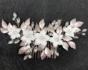 Retro Gold Leaf Hair Comb Wedding Bridal White Ceramics Flower Headband Crown Tiara Korean Jewelry Party Prom Headdress Ornament Accessories