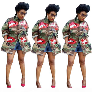 2019 Newest Women Green Camouflage Coats Sparkling Red Sequins Pattern Long Sleeves Lapel Neck Fashion Girls Long Jackets Real Pictures