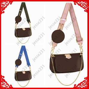 Donne di alta qualità Preferito 3pcs Borse in pelle Multi Pochette Accessori Accessori Borse Brown Flower Mini Pochette Cross Body Borsa Borse a tracolla