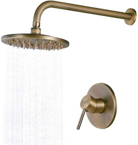IMPEU 8 Inch Waterfall Shower Head Set Solid Brass Wall Mounted Concealed Rain Shower System,Antique Brass, Valve Trims Included