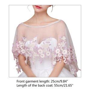 Jacket Bolero Wedding Pink Flower Embroidery Appliques Bridal Shawl Wraps Cape X7yc Xnqd