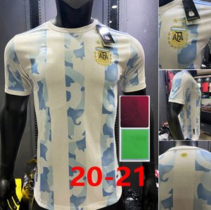 2020 Argentina Player Version Messi Di Maria Higuain ICARDI Футбол Футбол для футболки Dybala 2021 Aguero Lautaro Maillot Men + Kids Kits
