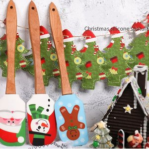 Christmas Cake Spatula scraper Silicone Cream Butter Mixing Batter Scraper Brush Butter Mixer Cake Brushes Baking Cake Tools T2I51436