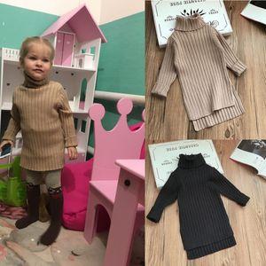 Wholesale INS Kids Girls Dresses Autumn Winter New Arrival Girls Fashion Knitted Sweaters Kids Plain Sweater Dress