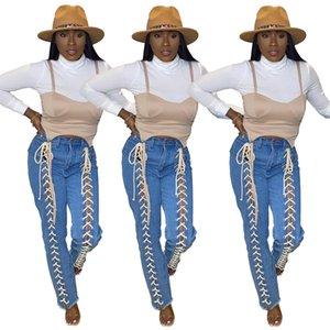 Donne jeans jeans jeans a vita alta banda fa bendatura pantaloni femminili pantaloni da donna cadono inverno lace up pantaloni larga gamba jeans jeans flare