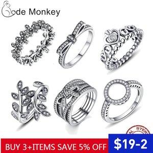 Codemonkey Hot Buy 100% 925 Sterling Silber Klar CZ Kreis Runde Glückliche Ringe für Frauen Schmuck 2020 Dropshipping R041