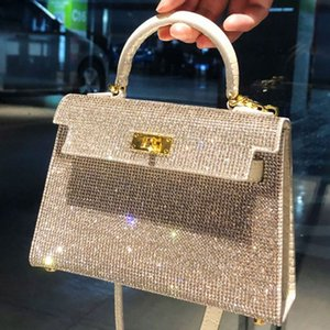 2021High Quality Designer Kelly bag tote Women crystal diamond Handbags Famous Chain Shoulder Bags Crossbody Metallic Soho Bag Disco Bag