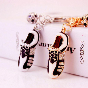Jewelry Crystal Soccer Shoes Rhinestone Car Keychains Purse Bag Charm Buckle Pendant Keyrings Key Chains Women Gift